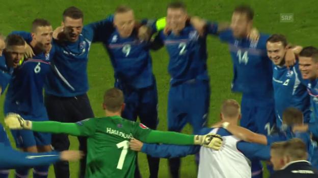Video «EURO-Quali: Jubel bei Island nach der Qualifikation» abspielen