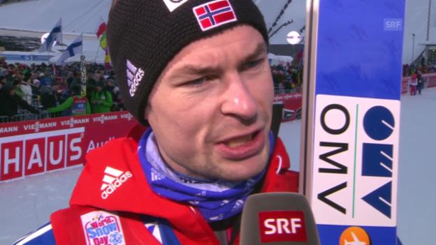 Video «Skispringen: Vierschanzentournee, Garmisch, Interview Anders Jacobsen» abspielen