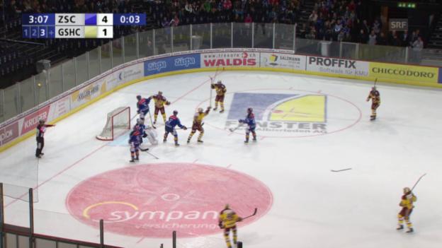 Video «Eishockey: Playoff-Halbfinal, 5. Runde, ZSC-Genf, 4:2 Almond» abspielen