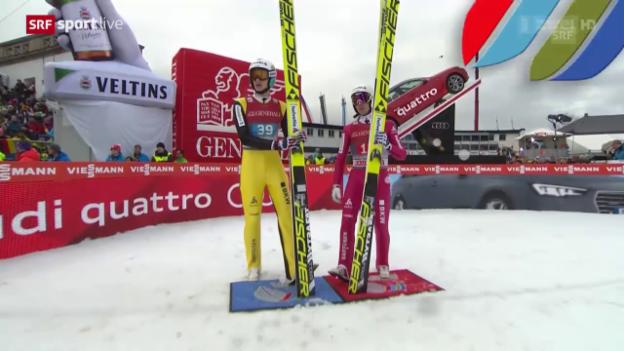 Video «Skispringen: Neujahrsspringen Garmisch, Gregor Deschwanden gegen Simon Ammann, 1. Durchgang» abspielen