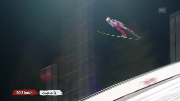 Video «Skispringen: Qualifikation Grossschanze, Sprung Simon Ammann» abspielen