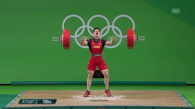 Video «Shi gewinnt im Gewichtheben 2. Olympia-Gold» abspielen