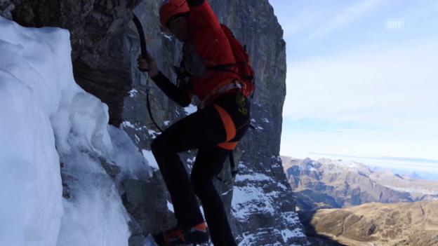 Video «Klettern: Impressionen von Ueli Stecks famosem Eigerwand-Sprint» abspielen