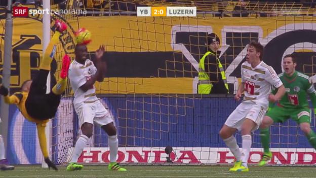 Video «Drei Hoarau-Tore bringen YB den Sieg über Luzern» abspielen