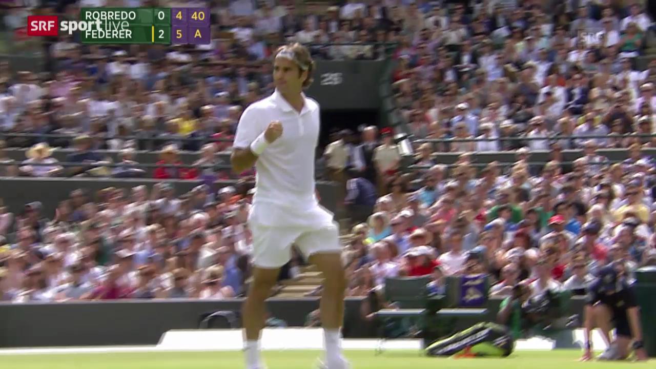 Tennis: Achtelfinal Wimbledon, Zusammenfassung Federer - Robredo