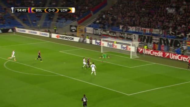 Video «Fussball: Europa League 2015/16, 2. Gruppenspiel, Basel – Lech Posen, 1:0 durch Bjarnason» abspielen