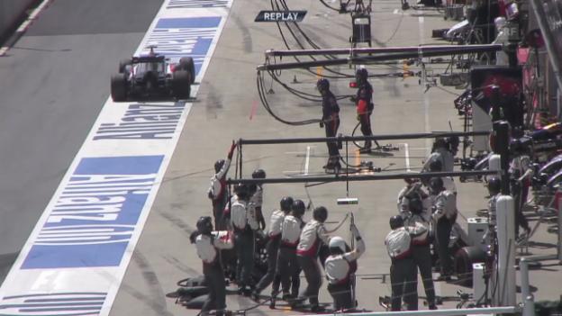 Video «Formel 1: GP Österreich, Gutierrez' missglückter Boxenstopp» abspielen