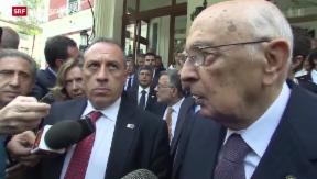 Video «Trotz Regierungskrise, Napolitano will keine Neuwahlen» abspielen