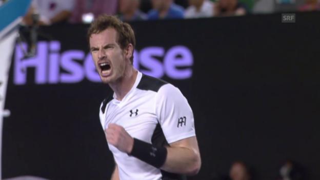 Video «Andy Murray zieht nach Viersatz-Sieg über David Ferrer in den Halbfinal der Australian Open ein» abspielen