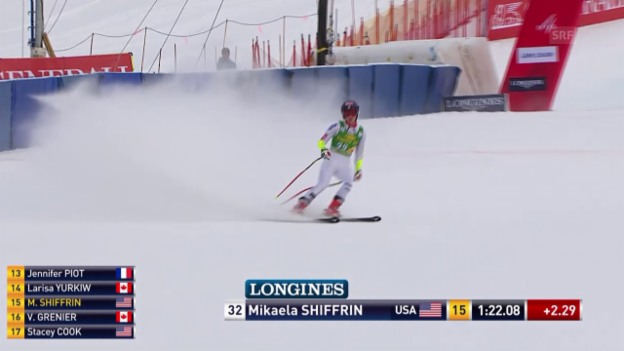 Video «Ski: Super-G Frauen in Lake Louise, Fahrt Mikaela Shiffrin» abspielen