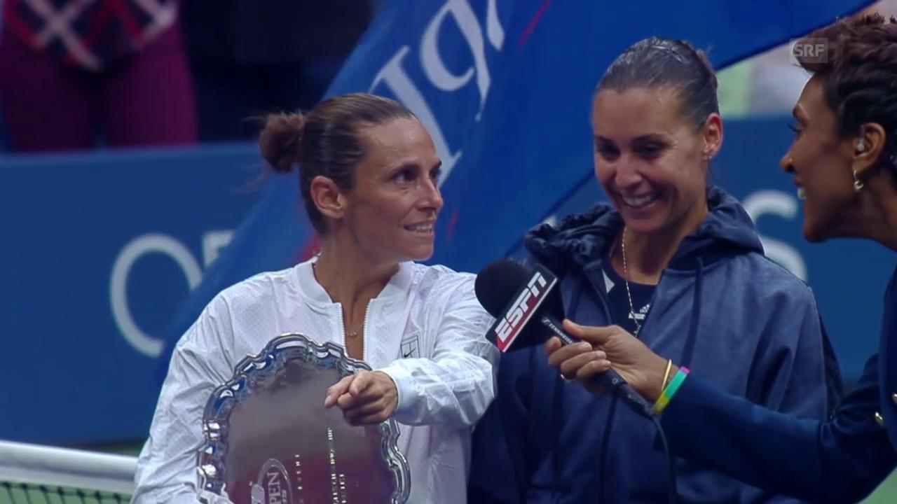 Tennis: US Open, Siegerehrung Pennetta