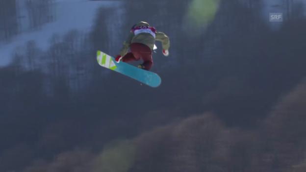 Video «Sotschi: Snowboard Slopestyle Frauen, Qualifikation, 1. Lauf von Elena Könz» abspielen