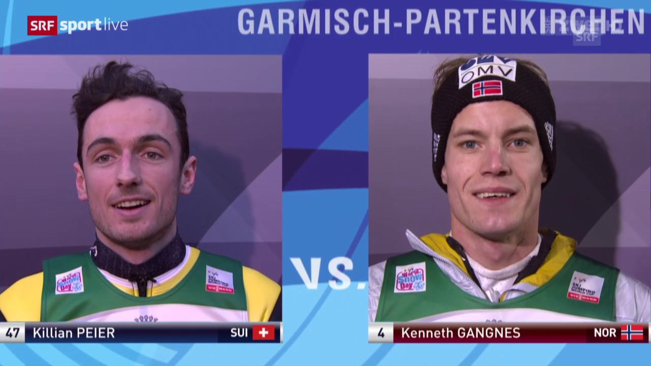 Skispringen: Neujahrsspringen Garmisch, Kilian Peier und Kenneth Gangnes, 1. Durchgang
