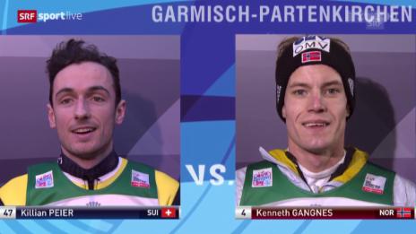Video «Skispringen: Neujahrsspringen Garmisch, Kilian Peier und Kenneth Gangnes, 1. Durchgang» abspielen