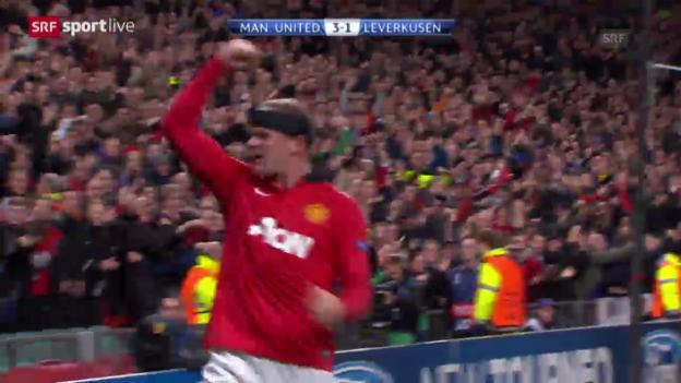 Video «Fussball: Rooney's Jubiläum im CL-Spiel gegen Leverkusen» abspielen