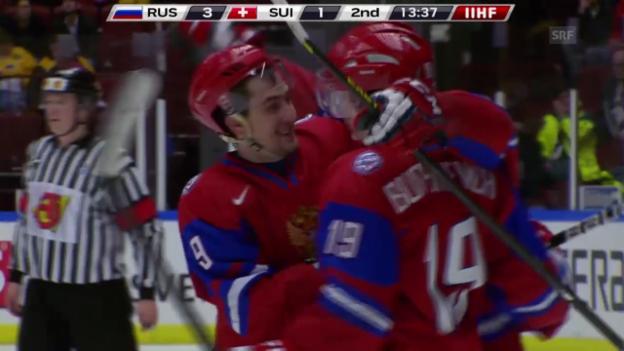 Video «Eishockey: U20-WM in Malmö, Vorrunde, Schweiz - Russland («sportlive», 28.12.2013)» abspielen