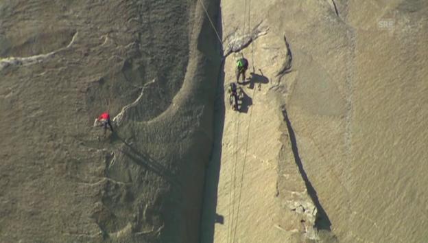 Video «Die Kletterer waren über zwei Wochen in der Wand (unkommentiert)» abspielen
