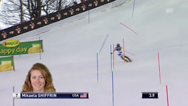 Video «Ski: Weltcup, Slalom Frauen Zagreb, 1. Lauf Shiffrin» abspielen