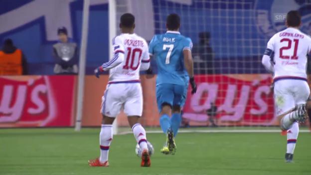 Video «Fussball: CL, Zenit - Lyon, Tor Hulk» abspielen