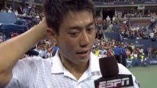 Video «Tennis: US Open, Platz-Interview mit Kei Nishikori» abspielen