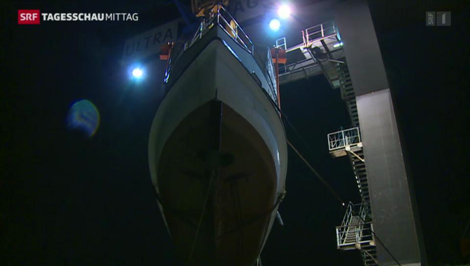 Spektakulärer Schiffstransport in Muttenz