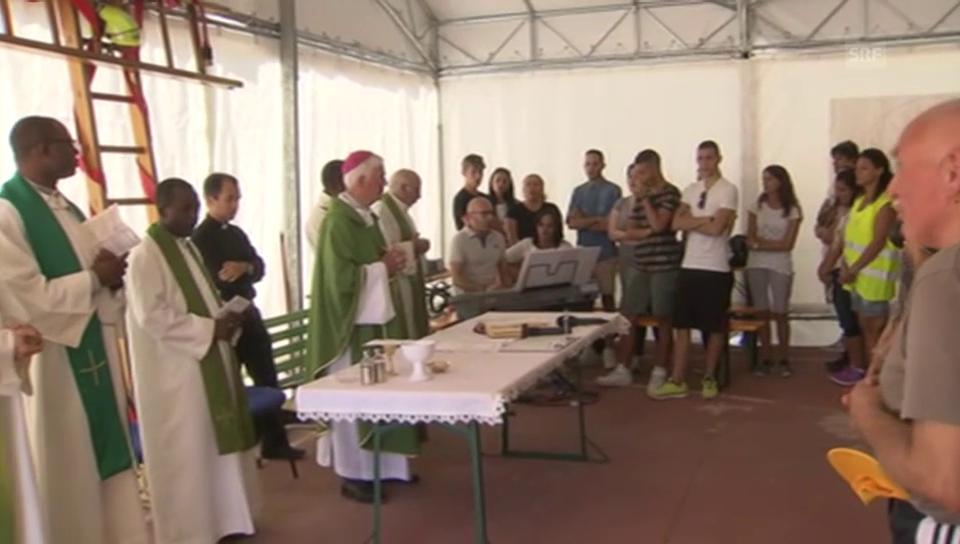Sonntagsmesse in Pescara im Zeltlager