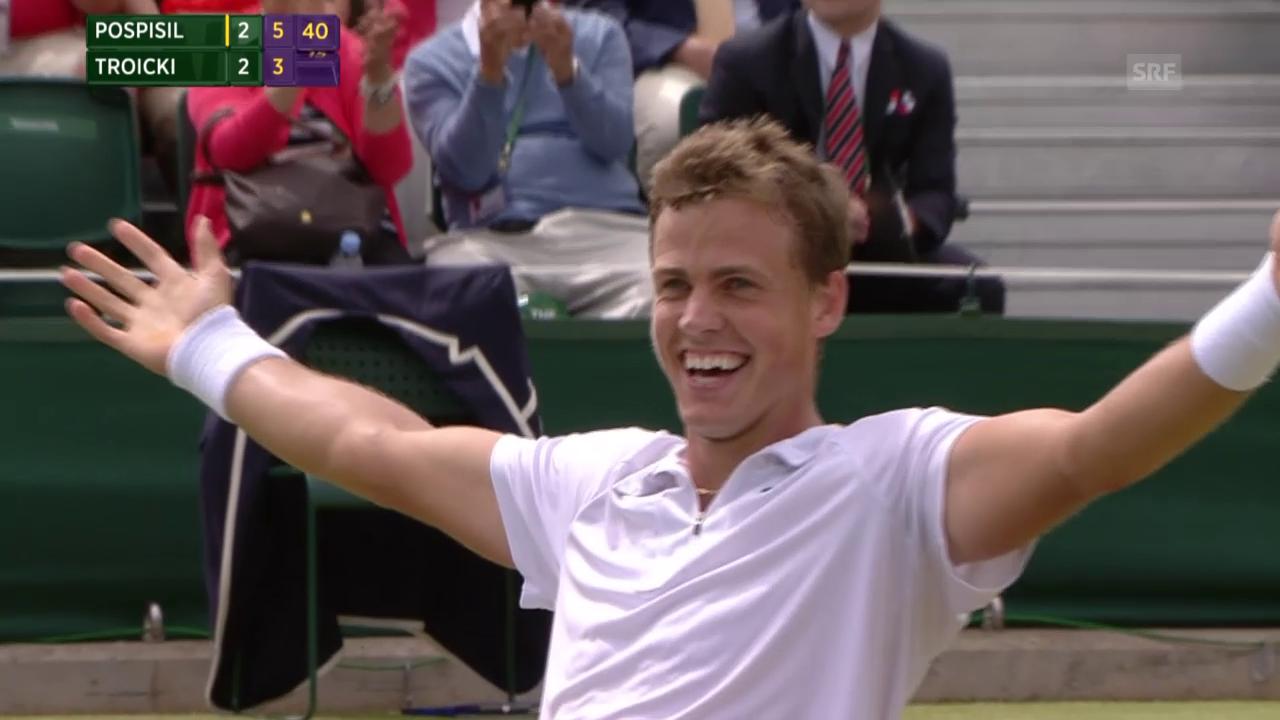 Tennis: Wimbledon, Achtelfinal Pospisil - Troicki, Matchball