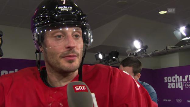 Video «Eishockey: Schweiz - Schweden, Interview mit Mark Streit (sotschi direkt, 14.02.2014)» abspielen