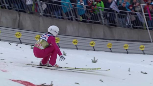 Video «Skispringen: Vierschanzentournee, Qualifikation für das 3. Springen in Innsbruck, der Sprung von Simon Ammann» abspielen