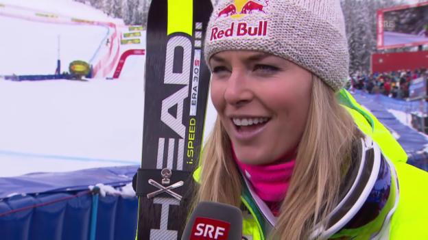 Video «Ski Alpin: Abfahrt Cortina, Interview mit Lindsey Vonn» abspielen