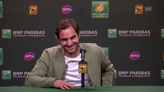 Video Zu Scherzen aufgelegt: Federer über die nächste Generation abspielen.
