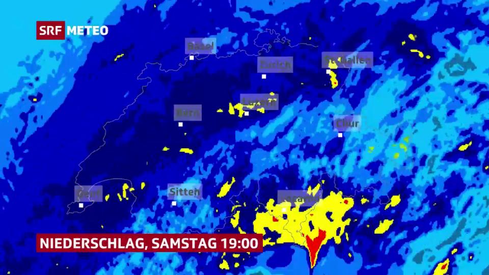 Möglicher Niederschlagsverlauf bis Sonntagmittag.