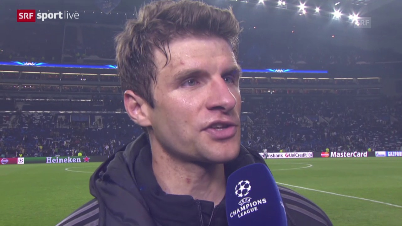 Fussball: Champions League, Porto - Bayern, Interview Thomas Müller