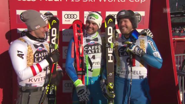 Video «Bostjan Kline triumphiert überraschend in Kvitfjell» abspielen