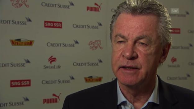Video «Hitzfeld zu seinen Erwartungen für Spiel gegen Griechenland» abspielen