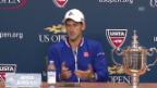 Video «Tennis: US Open 2015, Männer-Final, Novak Djokovic an der Pressekonferenz» abspielen