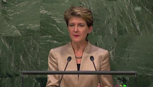 Video «Die UNO-Rede von Bundespräsidentin Sommaruga in voller Länge (frz.)» abspielen