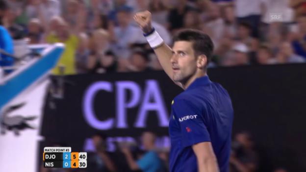 Video «Die entscheidenden Punkte bei Djokovic - Nishikori» abspielen