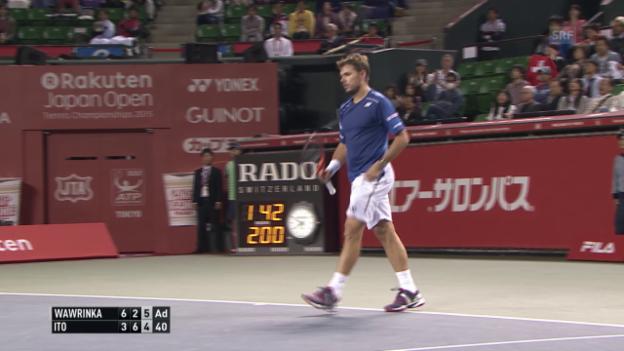 Video «Tennis: ATP Tokio, Achtelfinal, Zusammenfassung Wawrinka - Ito» abspielen