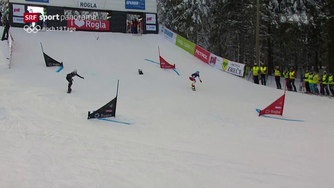 Alpine Snowboarder im Formtief