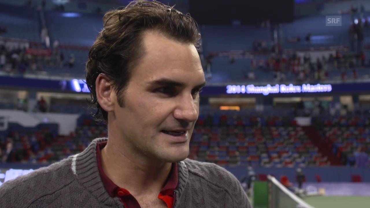 Tennis: Federer nach seinem Sieg über Djokovic in Schanghai