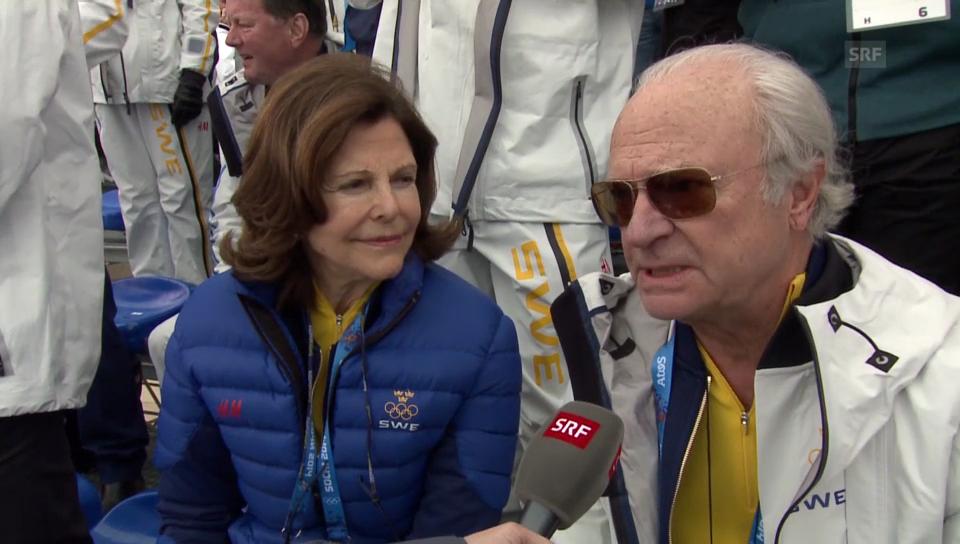 Das schwedische Königspaar über Dario Cologna