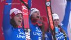 Video «Italienerinnen feiern Dreifachsieg in der Abfahrt» abspielen
