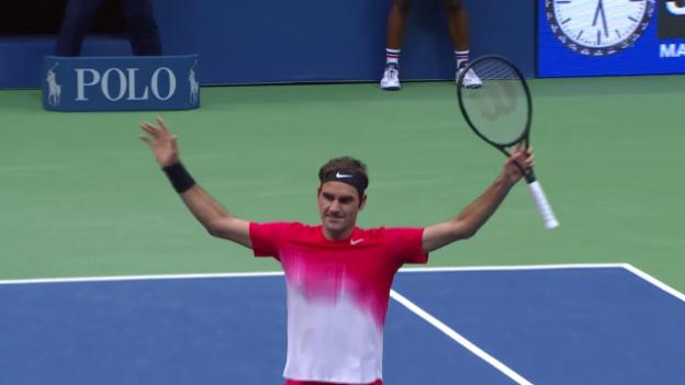 Video «Die Live-Highlights bei Federer-Juschni» abspielen