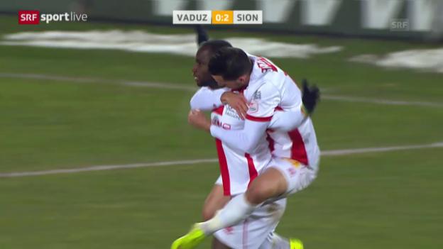 Video «Fussball: Follonier gibt Assist zum 2:0, Vaduz - Sion» abspielen