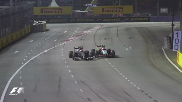 Video «Forme 1: GP Singapur, Kollision Sutil Perez» abspielen