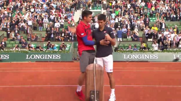 Video «Tennis: French Open, 1/4, Djokovic-Raonic, entscheidende Ballwechsel» abspielen