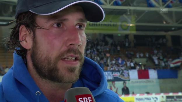 Video «Eishockey: Playoff-Halbfinal Kloten - Freiburg, Interview mit Cyrill Bühler (03.04.2014)» abspielen