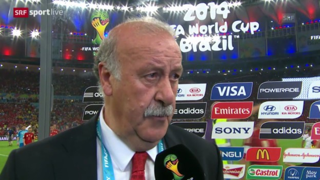 Video «Fussball: WM 2014, ESP-CHI, Interview Del Bosque» abspielen