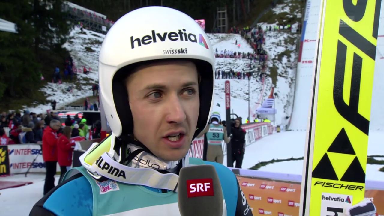 Skispringen: Engelberg 20.12.2015, Interview Simon Amman nach 1. Durchgang